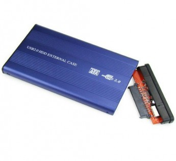 Terabyte External USB Portable HDD Hard Disk Drive Enclosure 2.5 inch Sata Casing for Laptop - Blue