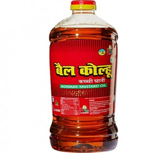 Bail Kolhu Kachi Ghani Mustard Oil 2 LITRE Bottle Cold Pressed | Healthy Cooking Oil | All Natural | Optimal Ratio of Omega 3 and Omega 6 Fatty acids | Free from Argemone Oil | Best Aroma, 2 Liter Bottle