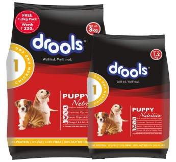 Drools Chicken and Egg Puppy Dog Food 3 kg with Free 1.2 kg Dog Food Drools Chicken Egg