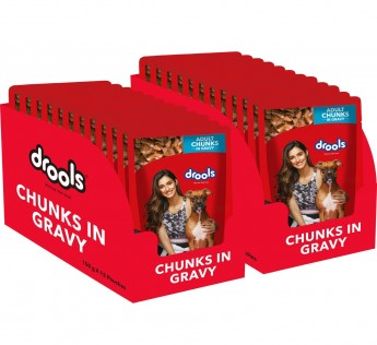 Drools Adult Wet Dog Food Real Chicken and Chicken Liver Chunks in Gravy Dod Food 150gm Dog Food Chicken 24 Pouches