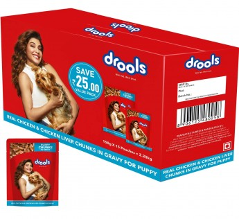Drools Puppy Wet Dog Food Real Chicken and Chicken Liver Chunks in Gravy 150gm Drools Puppy Wet Dog Food 15 Pouches