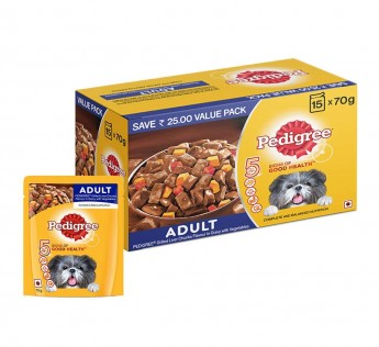 Pedigree Adult Wet Dog Food, Grilled Liver Chunks Flavour in Gravy with Vegetables 70gm Pedigree Adult Wet Dog Food 15 Pouche