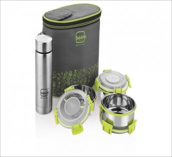 Basik Featheline Lunch Box Wid Stainless Steel Bottle 1 N