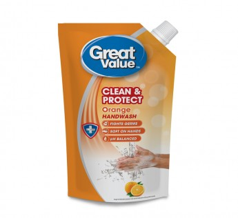Great Value Orange Handwash Pouch 750ml Great Value Handwash