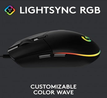 Logitech G102 Gaming Mouse Light Sync with Customizable RGB Lighting, 6 Programmable Buttons, Gaming Grade Sensor, 8 k dpi Tracking,16.8mn Color, Light Weight Black