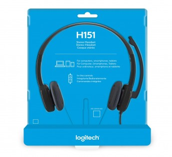 Logitech H151 Headset with Noise-Cancelling Boom Microphone,3.5 mm Analog Stereo,PC/Mac/Laptop - Black