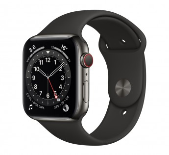 Apple Smart Watch Series 6 GPS + Cellular - 44 mm Graphite Stainless Steel Case with Black Sport Band