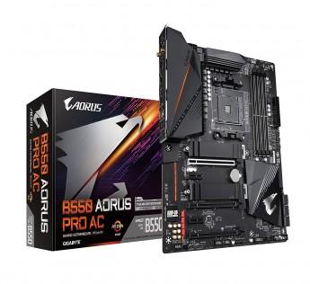 GIGABYTE Motherboard B550 Motherboard AORUS PRO AC (AM4 AMD/B550/ATX/Dual M.2/SATA 6Gb/s/USB 3.2 Gen 2/Intel Dual Band 802.11AC WiFi/2.5 GbE LAN/PCIe 4.0/RGB Fusion 2.0/DDR4/Gaming Motherboard