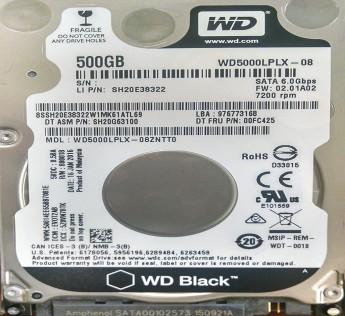 "Lenovo WD Black 500GB 7200 RPM 2.5"" SATA 7mm 6GB/Sec Slim Internal Laptop Performance Hard Drive for ThinkPad and IdeaPad Notebooks"