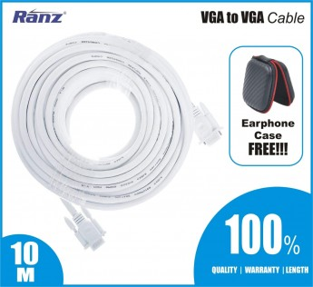 RANZ VGA CABLE VGA to VGA Cable (White) (10M)