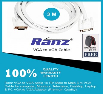 RANZ VGA CABLE VGA to VGA Cable (3M) (White)