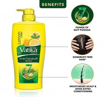 Dabur Vatika Anti Dandruff Shampoo, with Lemon & Methi for Dandruff Free Hair - 640ml