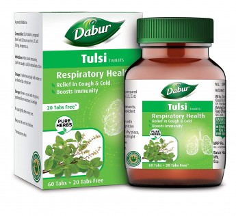 DABUR Tulsi Tablet - Respiratory Health | Boosts Immunity | Provides relief in Cough & Cold (60 + 20 tablets Free)
