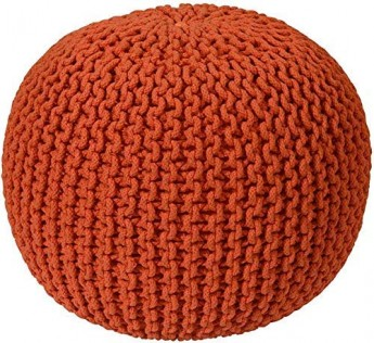 Sleepwell Generic Cotton Knitted Pouf Ottoman Foot Stool for Living Room Bedroom Hall Pouf Ball Chair Pouf exterieur Ball Round Ball red Colour
