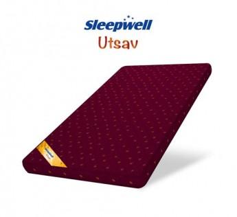 Apurva Interiors Sleepwell Attractive Fabric Double Bed Utsav Pair Mattress, Maroon