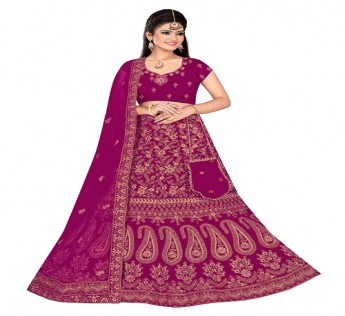 LARANYA LAVANYA BRIDAL EMBROIDERED LEHENGA CHOLI WITH POTLI PURSE (MAGENTA) SAFE SHOP