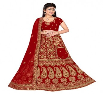 LARANYA LAVANYA BRIDAL EMBROIDERED LEHENGA CHOLI WITH POTLI PURSE (DARK RED) SAFE SHOP