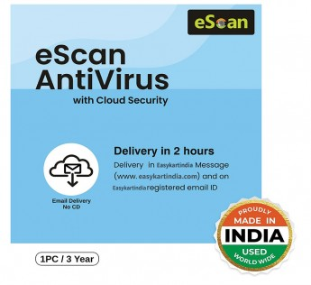 eScan Antivirus 1 User 3 Year Antivirus with Cloud Security (Email Delivery - No CD)