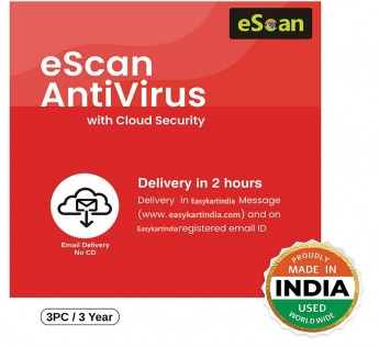 eScan Antivirus 3 Users 3 Years Antivirus with Cloud Security (Email Delivery – No CD)