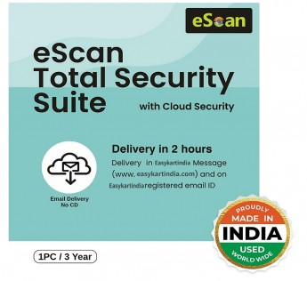 eScan Total Security 1 User 3 Year Total Security Suite with Cloud Security (Email Delivery - No CD)