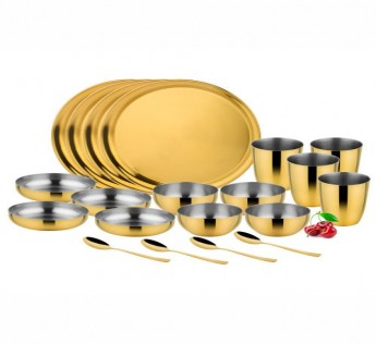 MIAKASA KING DINNER SET (24PCS) GOLD PVD ON STAINLESS STEEL SAFE SHOP