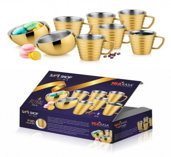 MIAKASA ROYAL TEA (2 BOWL 6 CUP SET) GOLD PVD ON STAINLESS STEEL SAFE SHOP