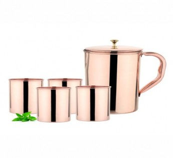 MIAKASA HEALTHY MORNING 1 JUG 4 GLASS SET COPPER SAFE SHOP