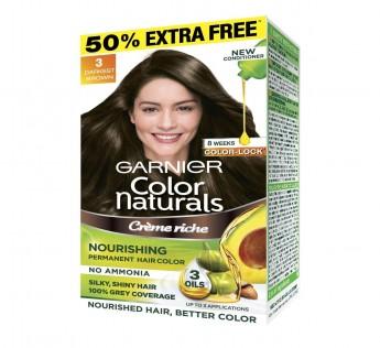 Garnier Brown Colour 35ml+30 Natural Darkest Brown Hair Shade No.3 35ml+30 gm Garnier Brown Colour