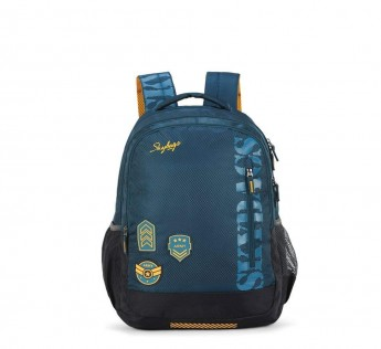 Skybags Stream Polyester Blue Spacious Skybags School Backpack with Rain Cover, large (SBSTRM1AGN)