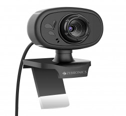 Zebronics Web Camera Crystal Pure Web Camera with 3P Lens,Built-in Microphone,Auto White Balance,Night Vision and Clip on Design (Black)