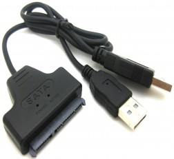 TECHNOTECH USB 2.0 to SATA 7+15 Pin 22 Pin Adapter Cable for 2.5-inch HDD Sata SSD Drives (Black)