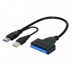 TECHNOTECH USB 3.0 to SATA Adapter Converter Cable for 2.5 Inch Laptop HDD & SSD with USB Power Cable with Package - Black