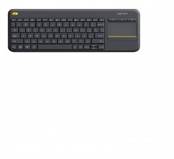 Logitech K400 Keyboard Plus Wireless Livingroom Keyboard with Touchpad for Home Theatre PC Connected to TV, Customizable Multi-Media Keys, Windows, Android, Laptop Black